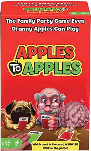 Cover Art shows a family in silhouette playing a card game. Text says Over 15 million games sold! Apples to Apples: party in a box. The game of crazy combinations.