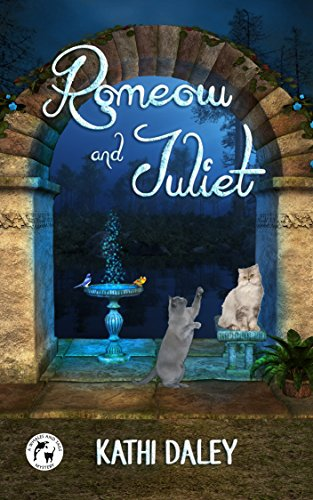 Romeow and Juliet by Kathi Daley. Essentially, two cats are acting out the balcony scene from Romeo and Juliet right next to a fountain.