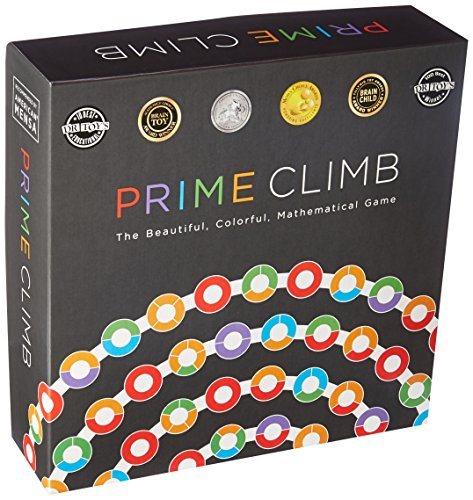 Cover Art shows four lines containing circles of colors. Text says Prime climb. The beautiful, colorful, mathematical game