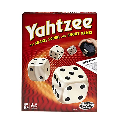 Cover Art shows four dice being tossed from a black plastic object. The corner of a Yahtzee score shows on the right side of the box. Box art says Yahtzee The shake, score, and shout game! Ages 8+, 2+ players. Hasbro gaming