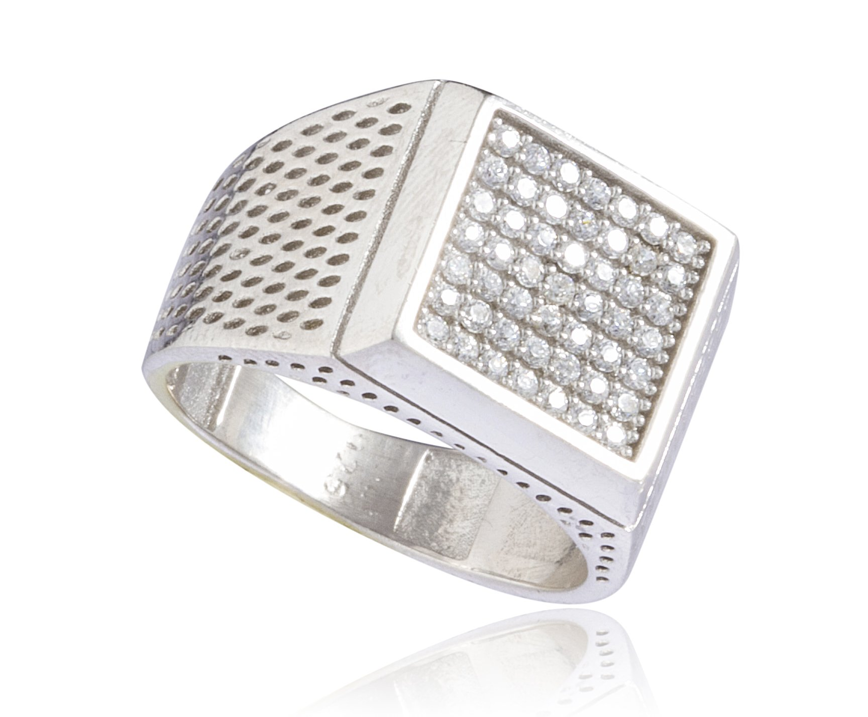 Real 925 Sterling Silver Iced Out Square Ring (10)
