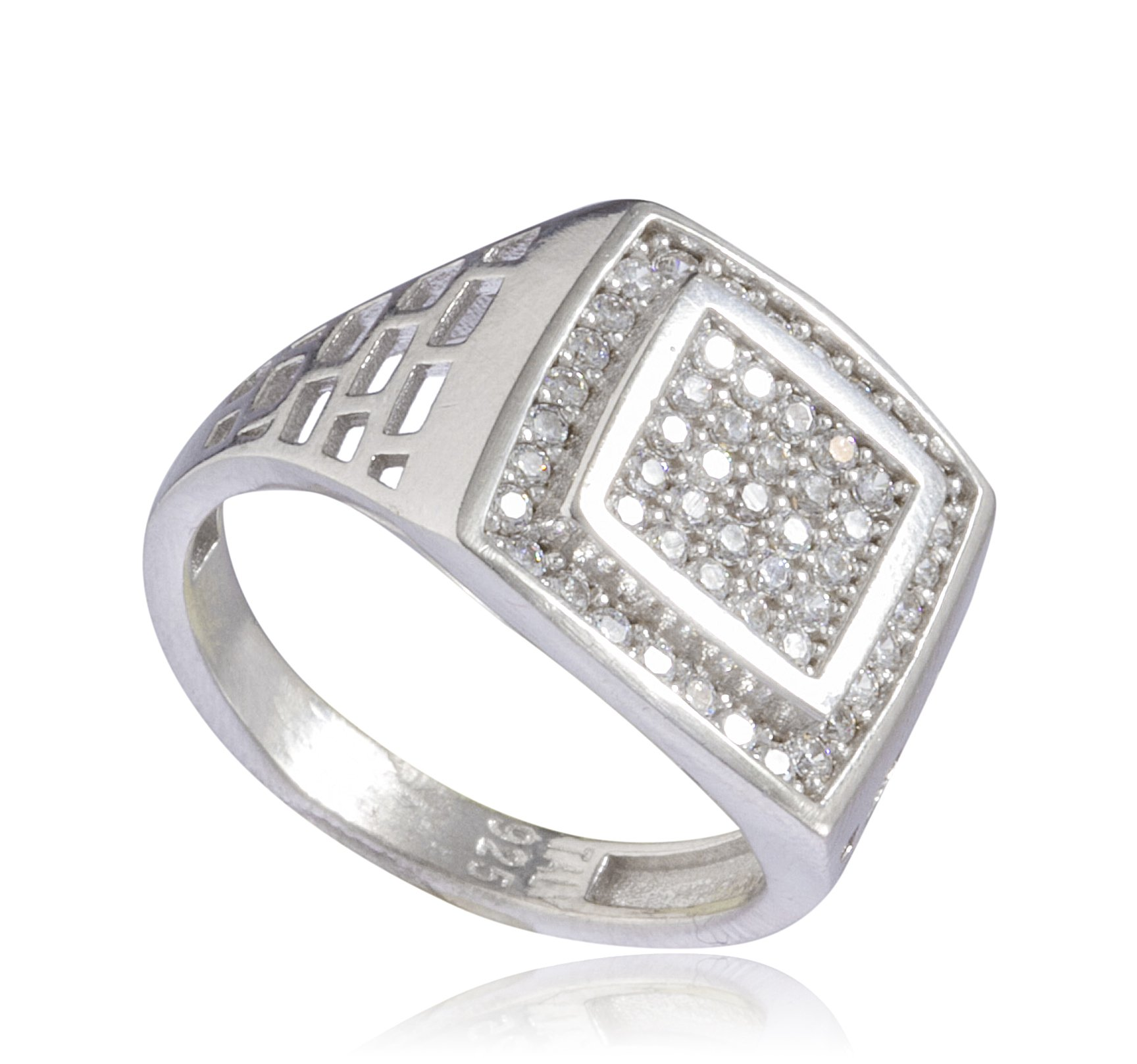 Real 925 Sterling Silver Iced Out Double Square Ring (10)
