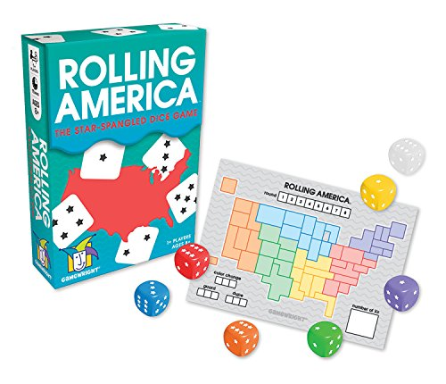Cover Art 5 dice with each face turned to a different number one through 5. Cover text says Rolling America The star-spangled dice game. Gamewright. 1+ players. Ages 8+