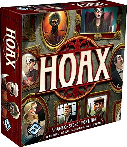 Cover Art shows a wall filled with ominous portraits. Text says Hoax. A game of secret identities. Bill Eberle, Ed horn, Jack Kittredge, Peter Olotka