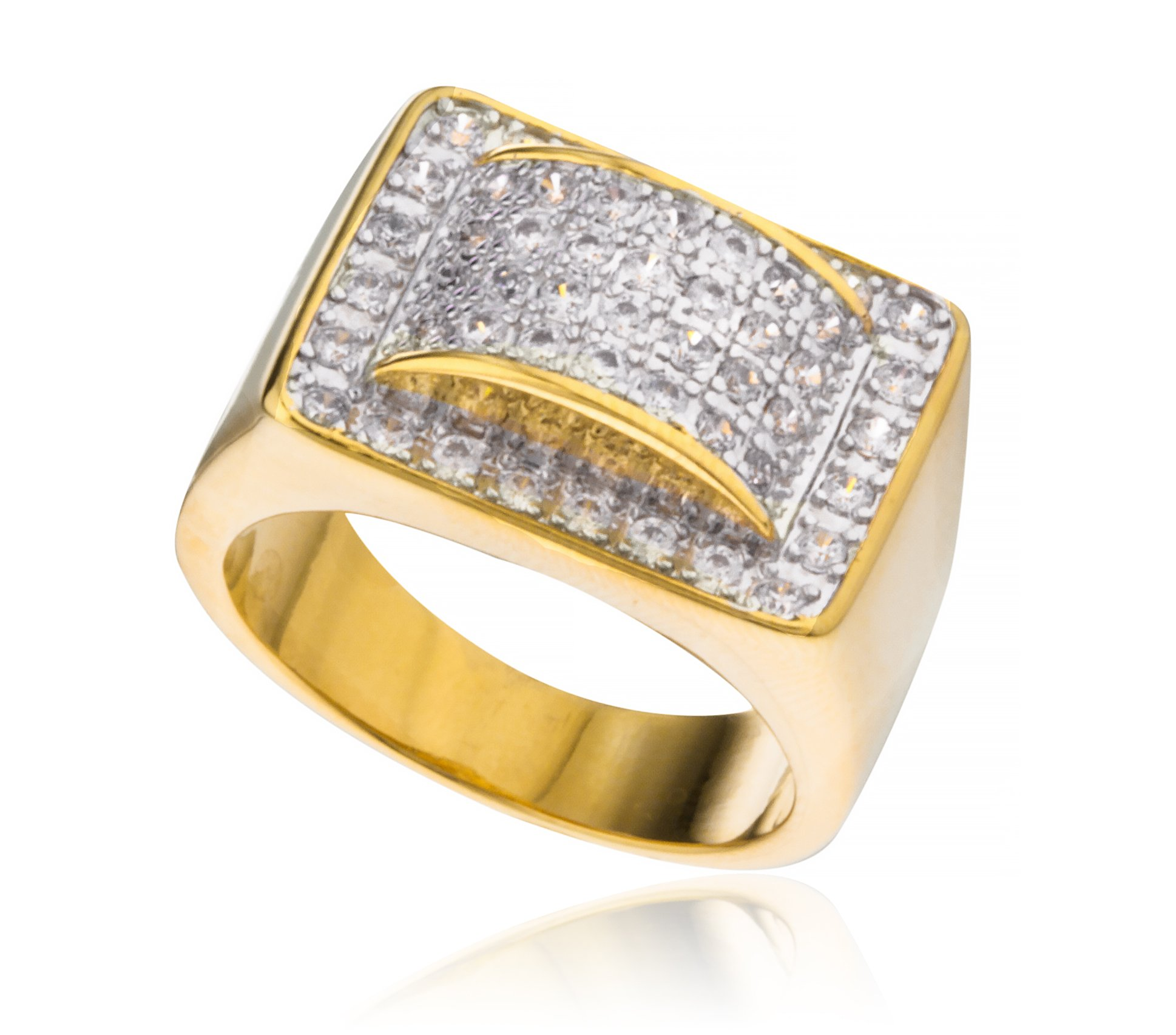 Men's Goldtone Rectangle with Round 3D Design CZ Ring Sizes 10-11 (10)