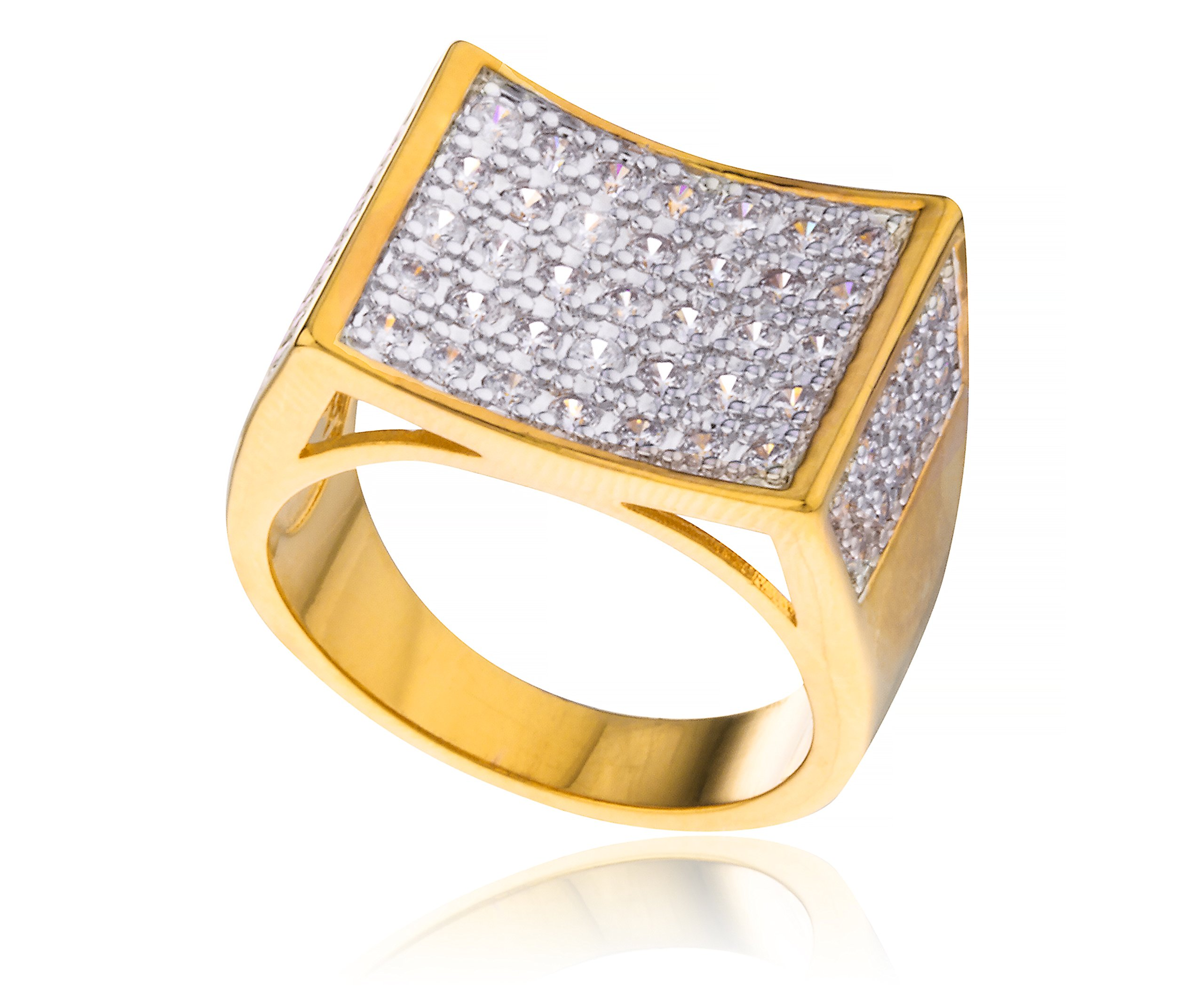 Men's Goldtone Cz Curved Rectangle Ring Sizes 10-11 (10)