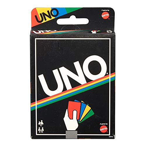Cover Art shows a hand holding a red card, blue card, yellow card, and green card. Cover text says: Uno. 7+ age.2 - 10 players. A game by Mattel.