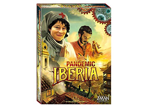 Cover Art shows a nurse and a doctor. On the bottom of the box you can see a two with a train running through it. Text says A game by Jesus Torres Castro and Matt Leacock. Pandemic Iberia. Limited collector's edition. Z-man games