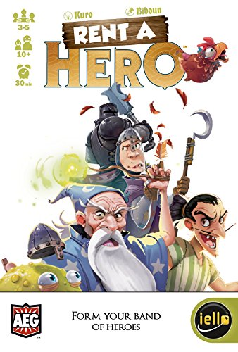 Cover Art shows a their, a knight, a squire, wizard, a chicken, and a toad. Cover text says: Kuro, Biboun, Rent a hero, 3-5 players, ages 10+, 30 minutes