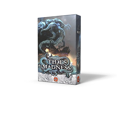 Cover Art shows a stylized Cthulhu made out of the sea hovering over a ship. Cover text says Kristian Curla Tides of Madness