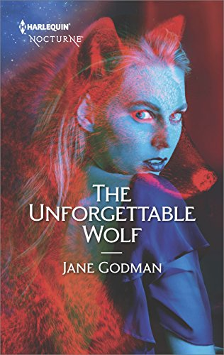 The Unforgettable Wolf by Jane Godman. A woman looking over her shoulder, but there's a bright red outline of a wolf superimposed over her body.