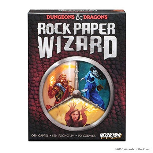 Cover Art shows three wizards. Cover text says Dungeons & Dragons Rock Paper Wizard. Josh Cappel, Sen-Foong Lim, Jay Cormier. WizK!ds
