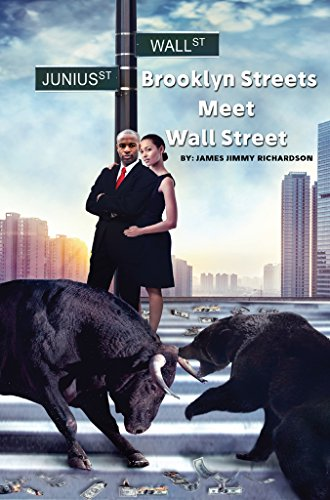 Brooklyn Streets Meet Wall Street by James Jimmy Richardson. A man and a woman embracing at the top of some stone steps while a bull and a bear are fighting below.