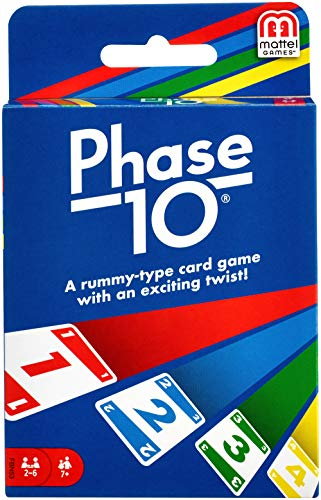 Cover Art shows four different cards: a red one, blue two, green 3, and yellow 4. Cover text says: Phase 10 A rummy-type card game with an exciting twist! Players 2-6, Ages 7+