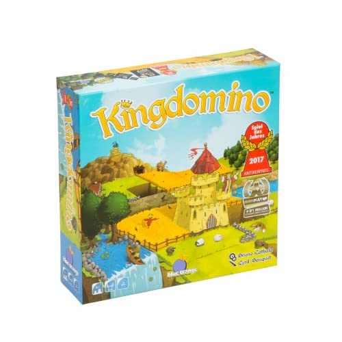Cover Art shows a small castle nestled in between some fields. Text says Kingdomino. Winner game of the year Spiel de Jahres 20217. Bruno Cathala. Cyril Bouquet