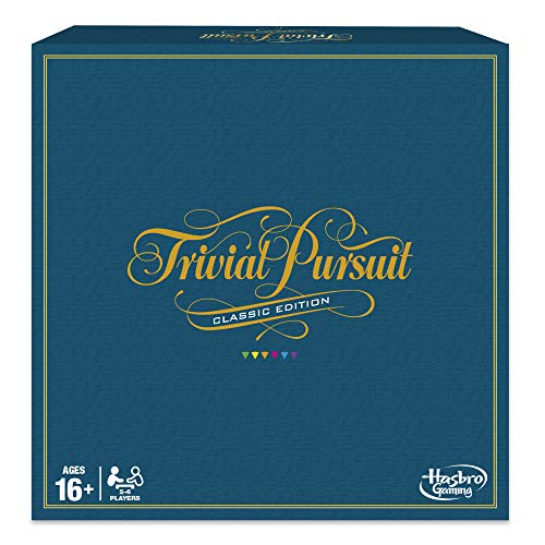 Cover text says Trivial pursuit: Classic edition. Ages 16+ 2-6 players. Hasbro gaming