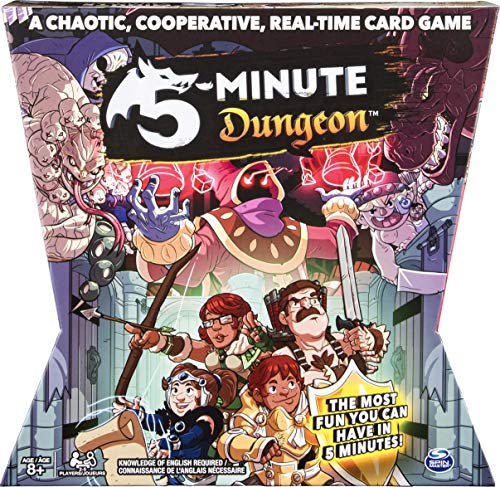 Cover text says 'A chaotic, cooperative, real-time card game. 5 minute dungeon. The most fun you can have in 5 minutes! Knowledge of english required. 2-5 players. Age 8+. Cover art features a variety of enemies on the upper part of the box. The bottom part features an archer, fighter, paladin, and mage.