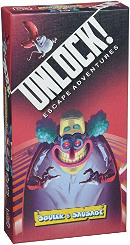 Cover Art shows an evil clown looking towards you. A small mouse carrying a sausage is running across the top of the box. The cover text says Unlock! Escape adventures. Squeek & Sausage