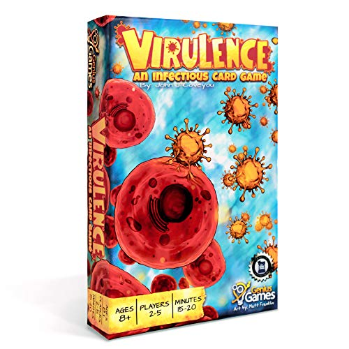 Cover Art show large red blood cells surrounded by orange virus cells. Cover text says: Virulence: An infectious card game By: John J. Coveyou. Ages 8+, Players 2-5, Minutes 15-20. Dice Tower Seal of Excellence. Geniuos games. Art by: Matt Franklin