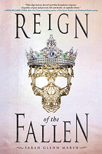 Reign of the Fallen by Sarah Glenn Marsh. A soft pink cover with an intricate gold skull wearing a jeweled crown.