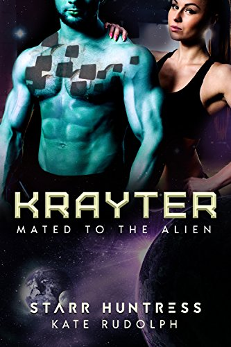 Krayter by Starr Huntress and Kate Rudolph. A blue shirtless man is covered in weird square patches while he broods in space. A brunette woman behind him is glowering.