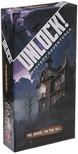 Cover Art shows a haunted house set against an ominous background. Cover text says Unlock! Mystery adventures. The house on the hill