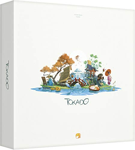 Cover Art shows a peaceful scene with two huts on small pieces of land connected by a bridge. On one island a man is painting. On the other there is woman with a parasol standing on the bank.Cover text says Tokaido