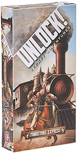 Cover Art shows a masked person on a horse chasing down a train. Cover text says Unlock! Secret Adventures. Tombstone Express