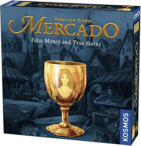 Cover Art shows a goblet with the reflection of a young lady. There is a city in the background. Text says: Rudiger Dorn. Mercado. False money and true status.