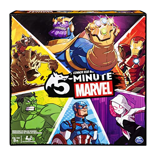 Carver art shows Thanos, Iron man, Groot and Rocket, Hulk, Captain America, and another female hero/villain. Cover text says: Connor Reid 5 Minute marvel. Knowledge of English required. Age 8+ 2-5 players