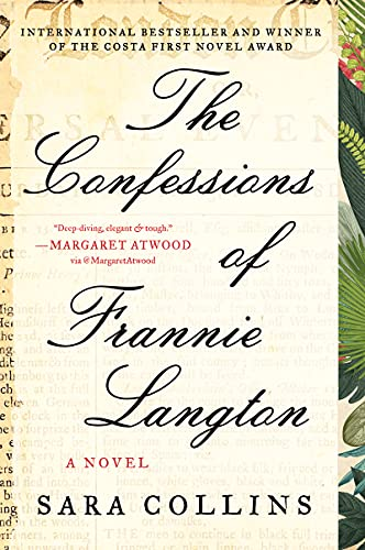 The Confessions of Frannie Langton by Sara Collins. The figure of a Black woman is front and center, though we can only see up to her neck. She's wearing a deep purple dress and her hands are balled into fists in her skirt.