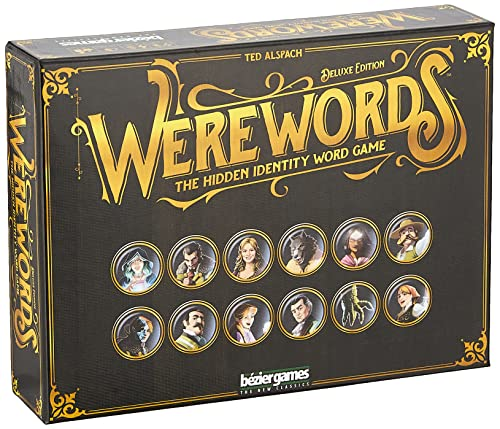 Cover Art shows a variety of people tokens including a werewolf, a seer, and some villagers. Cover text says: Ted Alspach. Werewords: the hidden identity word game. Bezier games. The new classics
