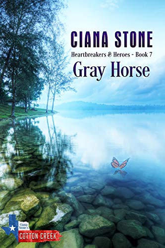 Gray Horse by Ciana Stone. A shirtless man in a pair of jeans is standing in the rain. He's in a field and holding his hand out, as butterflies swarm around him.