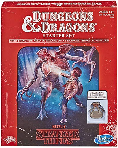 Cover text says: Dungeons & Dragons Starter set. Everything you need to embark on a Stranger Things adventure! Ages 14+ 3+ players. Netflix Stranger Things. 2 exclusive demogorgon figures included! Cover art shows a young person holding a flashlight in the woods. The young person is leaning away from a demogorgon that is springing at them.