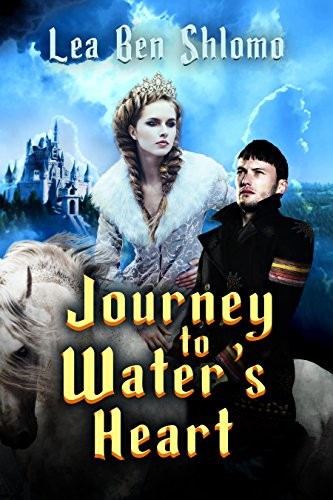 Journey to Water's Heart by Lea Ben Schlomo. The whole cover is awash in an odd blue filter. Lightning is striking in the background with an ominous castle on a hill. A woman in an intricate white dress is photoshopped onto a dubious horse. A woman in a historical military outfit stands nearby, but he looks oddly thin and tall. His head reaches the heroine's shoulder, who I remind you is on a horse.