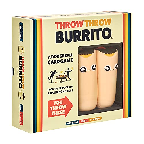 Cover Art shows two silhouetted figures throwing burritos at each other. Cover text says Throw Throw Burrito A dodgeball card game. From the creators of Exploding Kittens. You throw these [Arrow pointing at a cutout which shows two foam burritos inside the box). Party game. Ages 7+, 2-4 players.