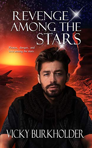 Revenge Among the Stars by Vicky Burkholder. A man is giving us the smolder on what appears to be planet Mars.