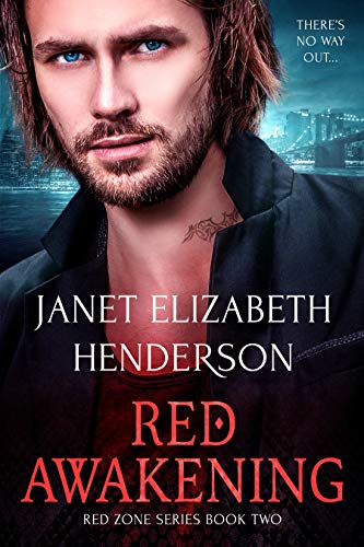 Red Awakening by Janet Elizabeth Henderson. A man is standing in front of a lit up cityscape. He is very red. Like a tomato and he has an awful tribal neck tattoo.